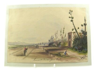 Antique 19th century watercolour painting landscape Somerset Road Green Point