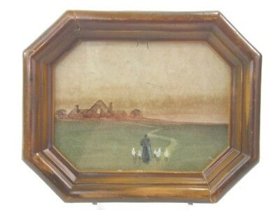 Antique early 20th century English School watercolour painting figure & geese