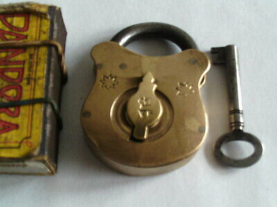 "Nice Vintage Brass Padlock With ""crown"" Vr & 2Stars"