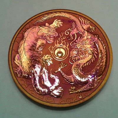 2018 - Australia  Dragon and Tiger 1oz Silver Coin with Beautiful toning.TONED