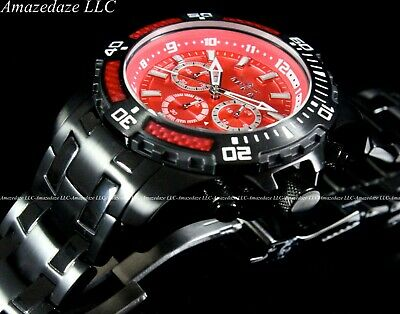 Invicta Mens 50mm Pro Diver Scuba Chronograph COMBAT Triple Black Red Dial Watch