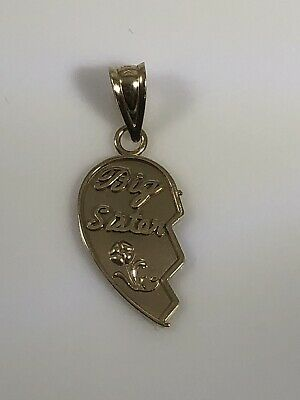 d8dff12471 Michael Anthony MA 14K Solid Yellow Gold BIG SISTER Half Heart Pendant
