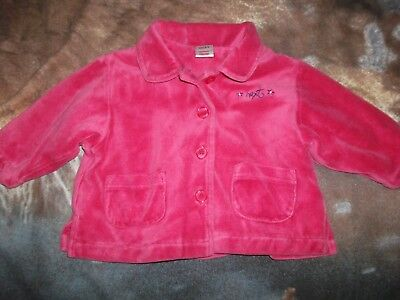 Next Baby Girls Cerise Pink Velour Coat Age 6-9 Months