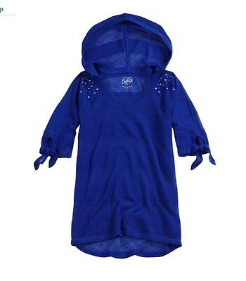 NWT Justice Girls Cobalt Blue Light Weight HOODIE SWEATER Sz 7 $33 FREE US SHIP