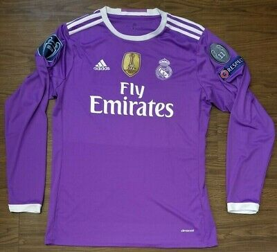 newest 30649 eb8db ADIDAS REAL MADRID Gareth Bale Soccer Jersey L/S Long Sleeve Purple Large L