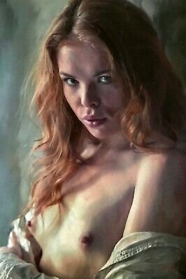WILLIAM OXER ORIGINAL Unexpected Feelings nude Pretty sexy Woman Girl PAINTING