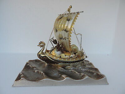 JAPANESE Solid Sterling Silver Enamel PHOENIX Treasure Ship SCRAP by SEKI 225 gr