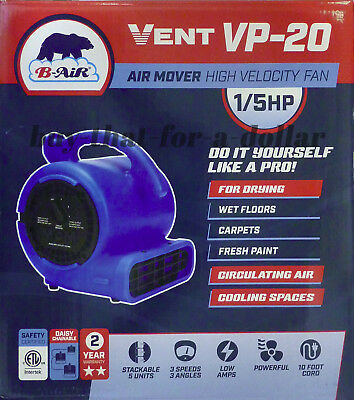 *NEW* Portable Air Mover Blower Drying Fan-1/5 HP-3 Speed-Compact-Dryer-Carpet