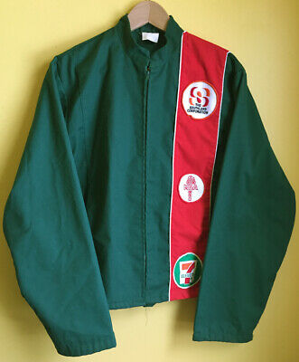 Vintage 7-Eleven 711 Uniform Jacket Smock Zip Up Men's Size L Embroidered Patch