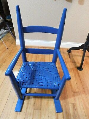 Fine Old Primitive Childs Wood Chair Blue Red White American Pdpeps Interior Chair Design Pdpepsorg
