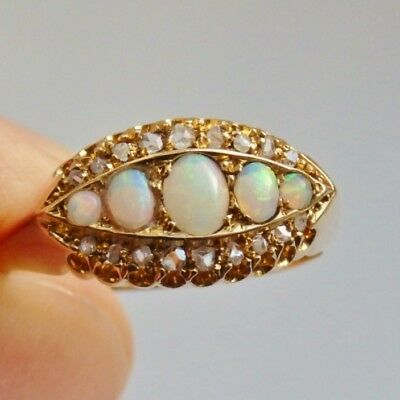Stunning Antique Edwardian 18ct Gold Opal & Diamond Ring c1904; UK Size 'M 1/2'