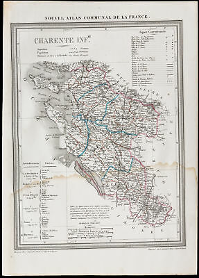 1839 - Geographical Map Old of the Charente-Lower/Charente-Maritime