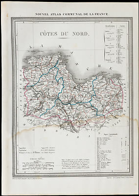 1839 - Antique Map the North Side (D-Sides' Armor) .France