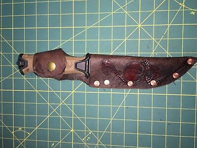 "Knife Sheath Custom Carved Leather 6.5"" X 1.5"" Blade"
