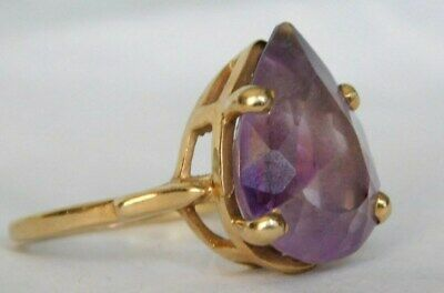 Estate Find-Vintage 1940's  20ct Natural Amethyst 14k Yellow Gold Ring