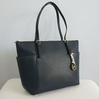 80b75979583a MICHAEL KORS Jet Set Item East West Top Zip Tote Large Size Navy MSRP $348