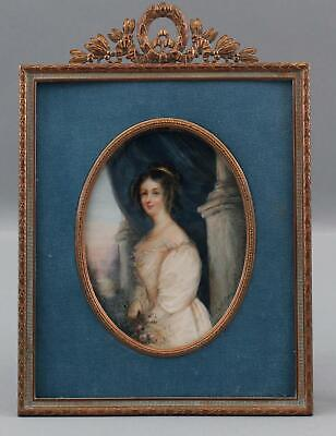 Antique 19thC French Miniature Portrait Painting Lady Churchill Gold Gilt Frame