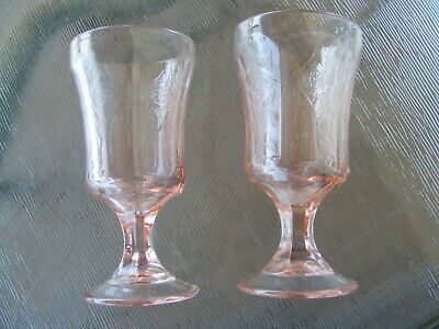 Set of 2 Indiana Glass Pink Recollection Footed Stem Ice Tea Goblets