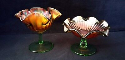 Antique Pair of Northwood Iridescent Marigold Smooth Ray Carnival Glass Compotes