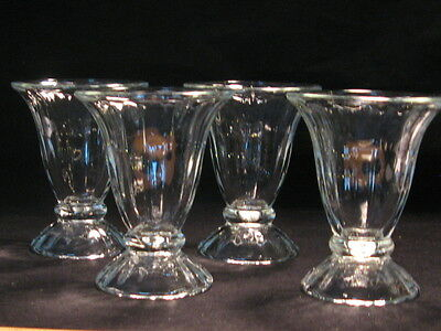"""Libbey Set of 4-5"""" Ice Cream Thick Parlor Sundae Glass Tulip Dish Marked"""