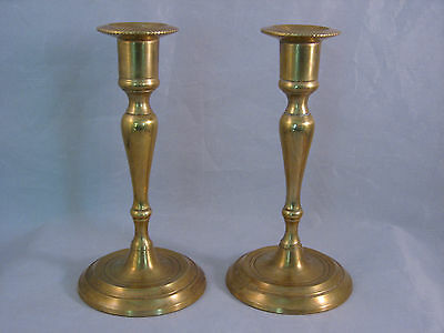 """Vintage Set of 2 Solid Brass Candle sticks 6 1/8"""" tall - Gently Used"""