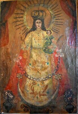 Antique 18th-19th C. Spanish Colonial Painting/Retablo on canvas- Virgin & Child