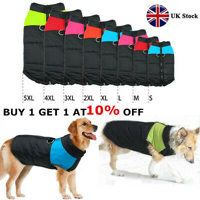 8 Size S-5XL Waterproof  Pet Dog Clothes Winter Warm Padded Coat Vest Jacket UK