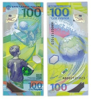RUSSIA - 100 Ruble polymer commemorative banknote 2018 - FIFA World CUP