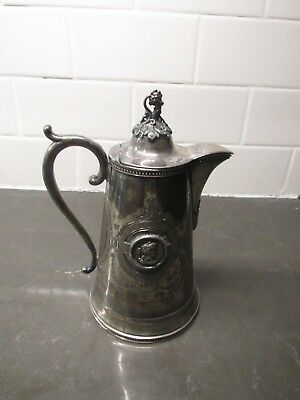 "Antique 7"" 1868 Silver Plate Etched Meriden B. Co. Ice Water Pitcher"
