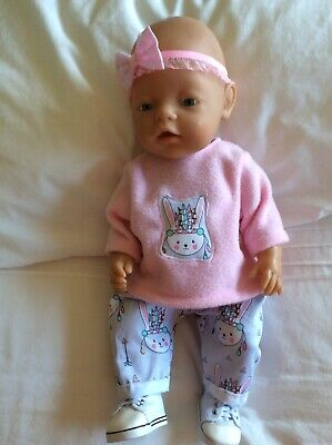 """Doll Clothes to fit 17"""" Baby Born doll ~ 3 Piece Set. Pink ~ Bunnies"""