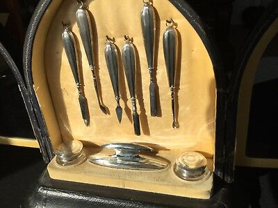 19th Century Antique French Manicure Vanity Cabinet 9pc Silver Set