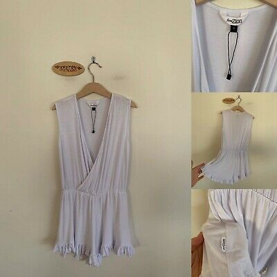Sz 8 Fromzion White Bamboo Playsuit
