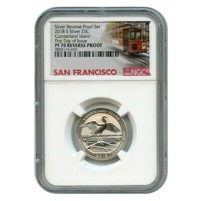 2018 S Silver Cumberland Island Quarter  Reverse Proof 25C Ngc Pf70 First Day