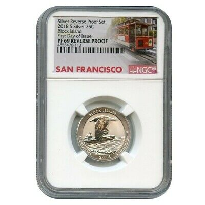 2018 S Silver Block Island Quarter Reverse Proof 25C Ngc Pf69 First Day Of I