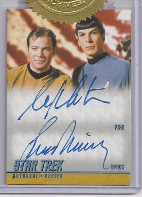 William Shatner + Leonard Nimoy Autograph Card - Star Trek TOS 50th Anniversary
