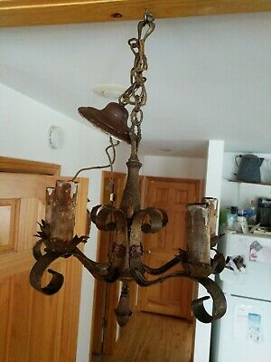 Gorgeous Ornate Vintage 5 Electric Candle Light Antique Brass Hanging Light