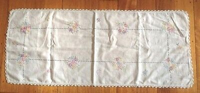 Vintage Table Runner Lovely Hand Embroidered Flowers Lace Edge Rectangular