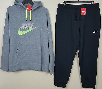 d5e0a6e63dcb7d Nike Fleece Sweatsuit Hoodie + Pants Grey Volt Black Rare New (Size 3Xl    2Xl