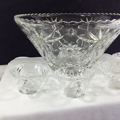 Punch-bowl Lead Crystal 10 pt Star and Floral Etching with 23 Cups