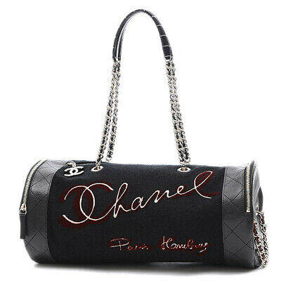 CHANEL Embroidered bowling bag black embroidery Boston bag A57522 Free Shi...