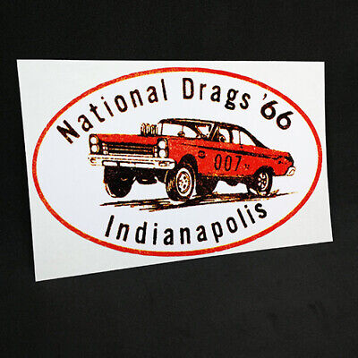 NATIONAL DRAGS '66 INDIANAPOLIS Vintage Style DECAL / STICKER, rat rod, racing