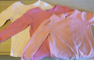 2 Long sleeve tops & 1 Cardigan pink size 4 FOX & FINCH, COTTON ON, H&T
