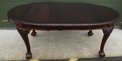Antique Edwardian Mahogany Oval Wind-Out Extending Dining Table Ball & Claw Feet