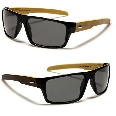 Polarised Mens Sunglasses - Wrap Around Frame Wooden Bamboo Arms- Polarized Lens