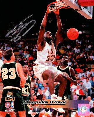 Shaquille O'Neal Signed Autographed 8X10 Photo LSU Tigers Two Hand Dunk w/COA