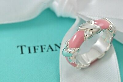 a8df801921b3c TIFFANY & CO Silver Pink Enamel Signature X Wide Stacking Ring Band ...