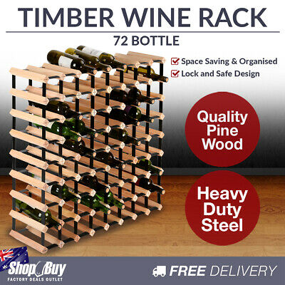 72 Bottles Timber Wine Rack Wooden Shelf Cellar Storage Vintry Stand Cabinet
