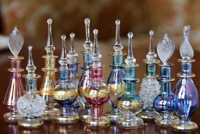 12 Pack Small Decorative Egyptian Perfume Oil Bottle Hand Blown Pyrex Glass Gift