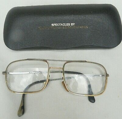 Pair Old Vintage Gold Framed Spectacles eye glasses in Original Hard Case