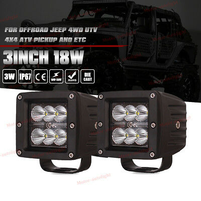 4x4inch 18W Led Work Lights Pods Cube Offroad ATV UTE   PICK-UP 4WD Spot Beam